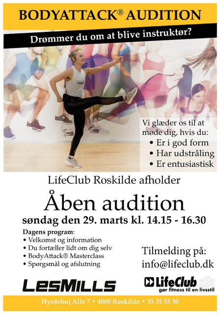 Audition til BodyAttack-instruktør i LifeCLub Ringsted